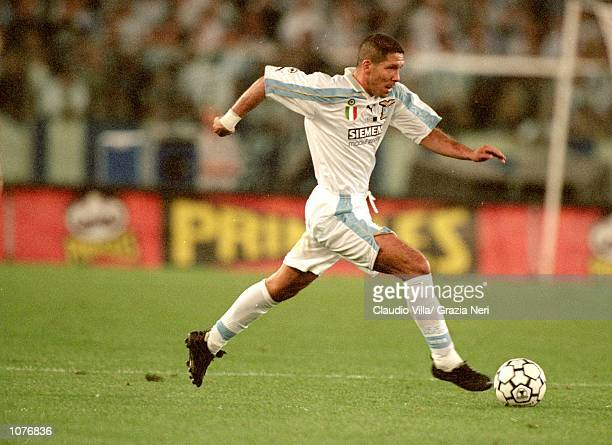 Diego Simeone of Lazio in action during the Italian Super Cup match against Inter Milan played at the Stadio Olimpico in Rome Italy Lazio won the...