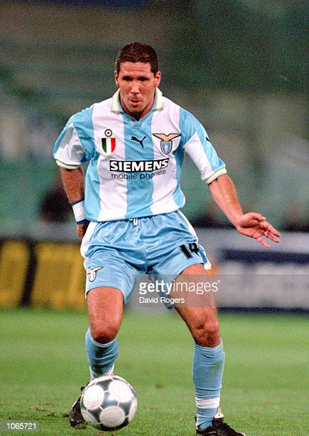 Diego Simeone of Lazio in action during the UEFA Champions League match against Sparta Prague at the Stadio Olimpico in Rome Italy Lazio won the...
