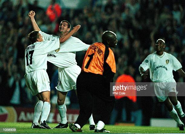 Dominic Matteo of Leeds celebrates scoring the 3rd goal during the UEFA Champions League game between Leeds United and Besiktas JK at Elland Road...