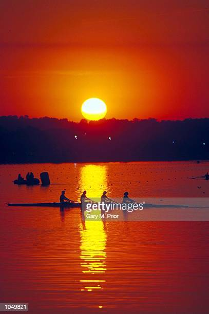 Early morning rowing practice at the Sydney International Regatta Centre on Day Three of the Sydney 2000 Olympic Games in Sydney Australia Mandatory...