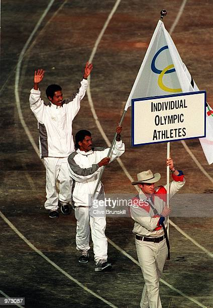East Timor athletes walk out on the track during the Olympic Opening Ceremony held at the Olympic Stadium Sydney Australia Mandatory Credit Clive...