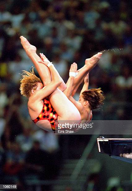 Emilie Heymans and Anne Montminy of Canada on their way to Silver in the Womens Pairs Synchronised 10m Diving Final at the Sydney International...