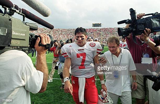 Eric Crouch of the Nebraska Cornhuskers gets interviewed by the media after the game against the Notre Dame Fighting Irish at the Notre Dame Stadium...