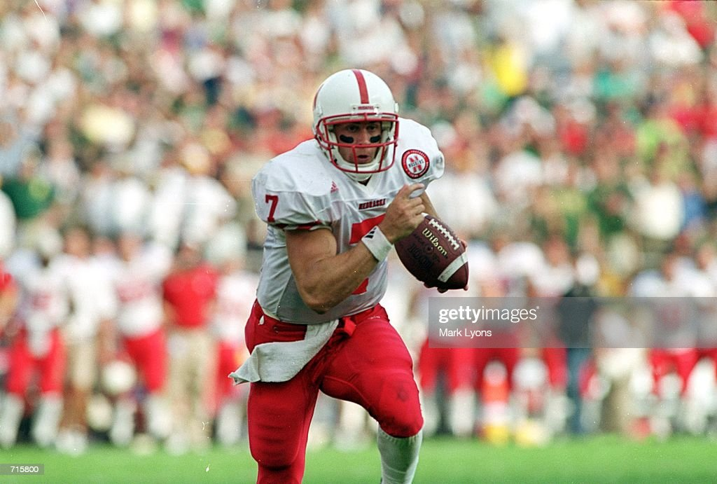 Eric Crouch #7 of the Nebraska Cornhuskers runs the final touchdown during the overtime period of the game against the Notre Dame Fighting Irish at the Notre Dame Stadium in South Bend, Indiana. The Cornhuskers defeated the Fighting Irish 27-24Mandatory Credit: Mark Lyons /Allsport
