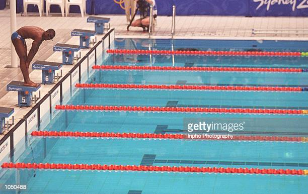 Eric Moussambani of Equatorial Guinea in action during the Mens 100m Freestyle Heats at the Sydney International Aquatic Centre on Day Four of the...
