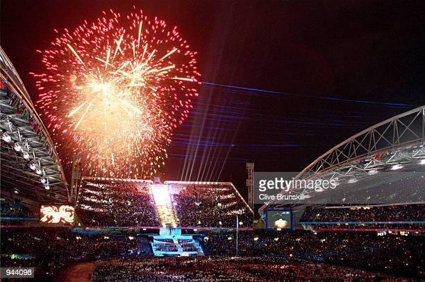 Fireworks explode during the Opening Ceremony of the Sydney 2000 Olympic Games at the Olympic Stadium in Homebush Bay Sydney Australia Mandatory...