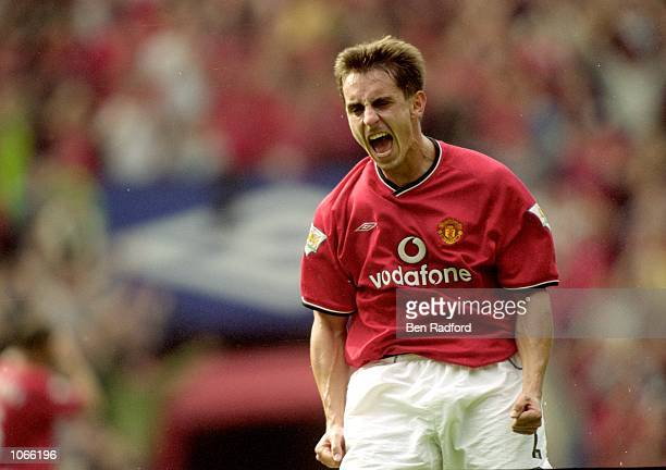 Gary Neville of Manchester United celebrates during the FA Carling Premiership match against Chelsea at Old Trafford in Manchester England The match...