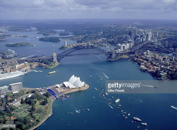 General aerial view of Sydney Harbour during the Women's Triathlon on Day One of the Sydney 200 Olympic Games in Sydney Australia Mandatory Credit...