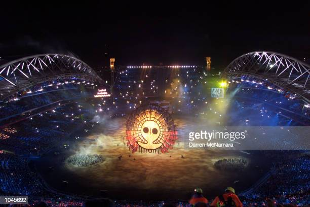General overview of the performers in the Opening Ceremony during the Sydney 2000 Olympic Games at the Olympic Stadium Sydney Olympic Park Sydney...