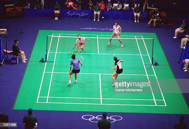 General view of play in the Womens Doubles Badminton Quarterfinal between KyungMin Ra and Jae Hee Chung of Korea and Rikke Olsen and Helene...