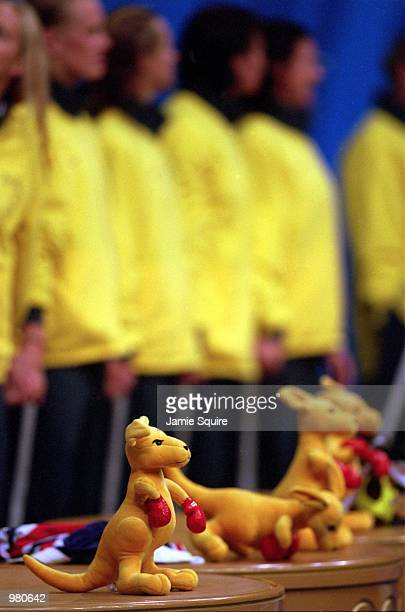 General view of the Boxing Kangaroo, a gift that all medalist receive with their medals, at the Women's Water Polo Final were Australia defeats the...