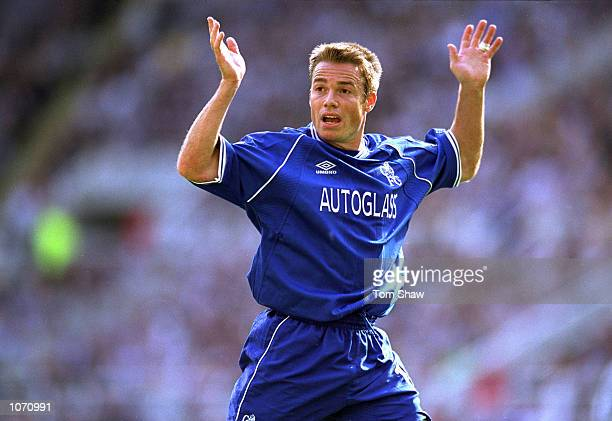 Graeme Le Saux of Chelsea protests during the FA Carling Premiership match against Newcastle United played at St James Park in Newcastle England The...