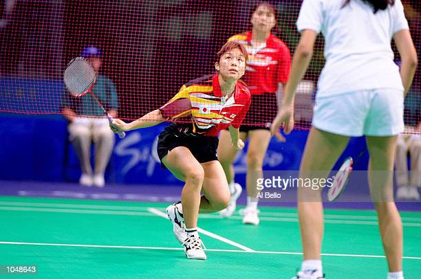 Haruko Matsuda and Yoshiko Iwata of Japan in action during the Women's Doubles Badminton Preliminaries at Pavilion 3 in the Olympic Park on Day Three...