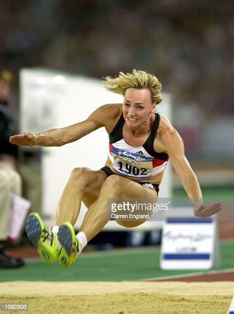 Heike Drechsler of Germany in action in the Womens Long Jump Final during the 2000 Sydney Olympic Games at the Olympic Stadium Sydney...