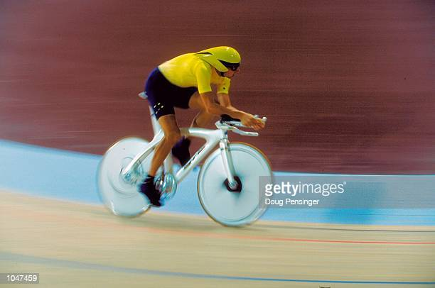 Impression of Luke Roberts of Australia in action during the Men's 4000m Individual Pursuit Track Cycling event at the Dunc Gray Velodrome in...