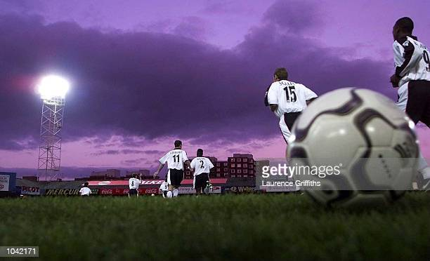 Ipswich players take to the field during the Carling Premiership fixture between Leicester City and Ipswich Town at Filbert Street Leicester...