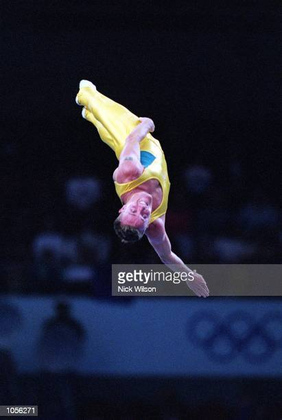 Jai Wallace of Australia during his routine in the Mens Trampoline Final during the 2000 Sydney Olympic Games at the Sydney Superdome in Sydney...