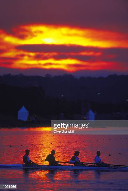 James Cracknell Steve Redgrave Tim Foster and Matthew Pinsent of Great Britain in early morning training for the Mens Coxless Fours at the Sydney...