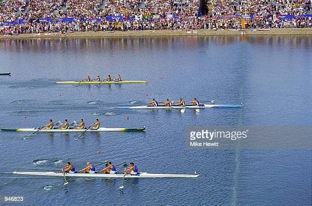 James Cracknell Steve Redgrave Tim Foster and Matthew Pinsent of Great Britain cross the line to win Gold in the Men's Coxless Four Rowing Final...