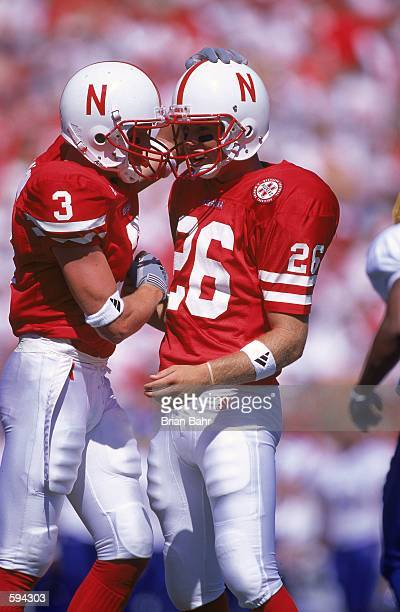 Josh Brown and Matt Davison of the Nebraska Cornhuskers congradulate each other during the game against the San Jose State Spartans at the Memorial...