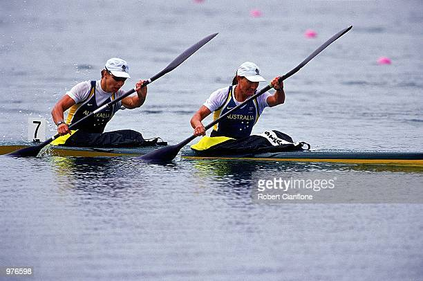 Katrin Borchett and Ana Wood of Australia in action during the Women's K2 500m Canoe/Kayak held at the Sydney International Regatta Centre during the...