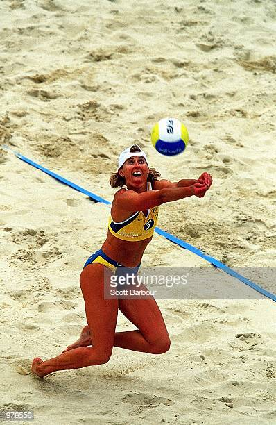 Kerry Pottharst of Australia in action during the Women's Beach Volleyball Final played between Australia and Brazil held at the Beach Volleyball...