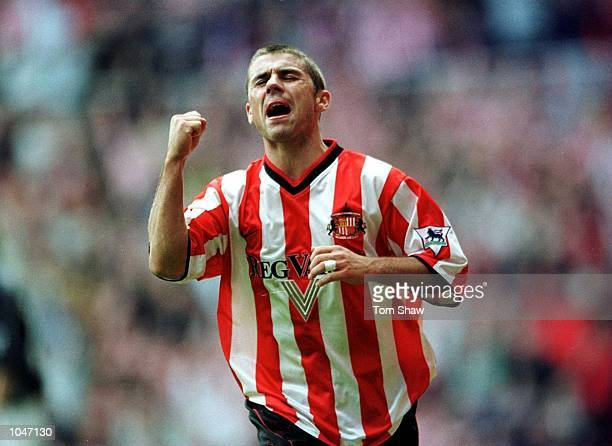 Kevin Phillips of Sunderland celebrates after scoring the second goal during the Sunderland v Derby County FA Carling Premiership match at the...