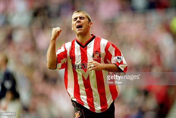 Kevin Phillips of Sunderland celebrates during the FA Carling Premiership match against Derby County at the Stadium of Light in Sunderland England...