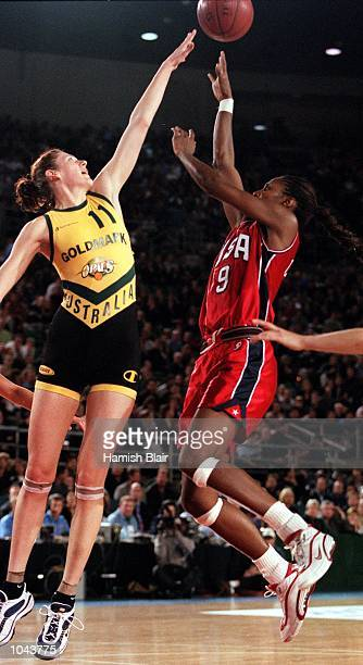 Lauren Jackson for Australia attempts to block a shot from Lisa Leslie for the USA during the match between the Australian Opals and Team USA at the...