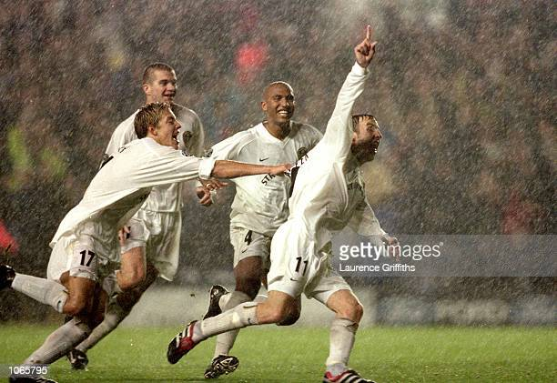 Lee Bowyer of Leeds United celebrates his winner during the UEFA Champions League match against AC Milan at Elland Road in Leeds England Leeds United...