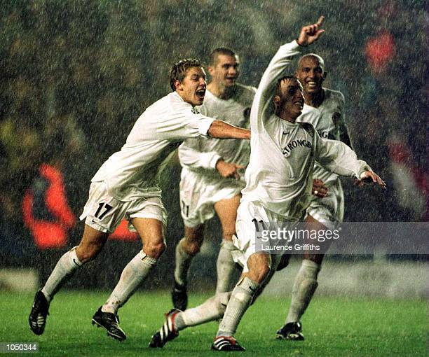 Lee Bowyer of Leeds United celebrates the winner during the match between Leeds United and AC Milan in the Champions League Group H match played at...