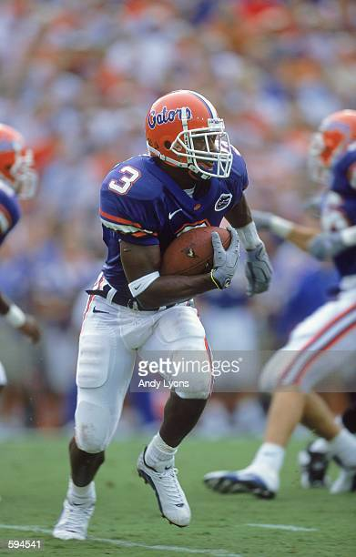Lito Sheppard of the Florida Gators carries the ball during the game against the Ball State Cardinals at Florida Field in Gainsville Florida The...