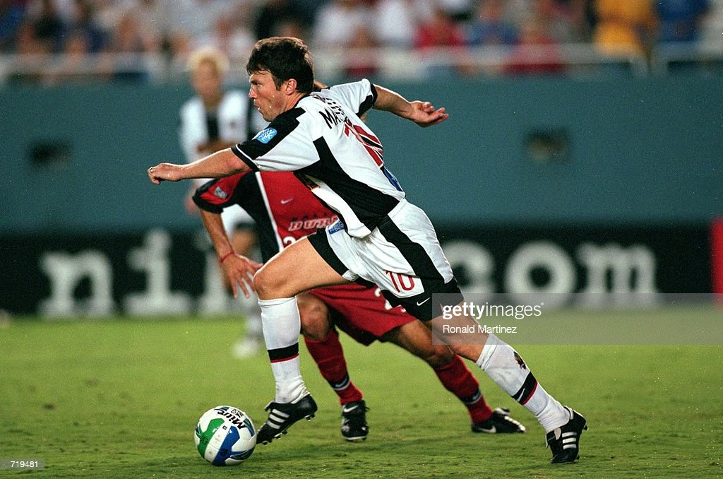Lothar Matthaus #10 of the New York/New Jersey MetroStars runs with the ball during the game against the Dallas Burn at the Cotton Bowl in Dallas, Texas. The MetroStars tied the Burn 2-1.Mandatory Credit: Ronald Martinez /Allsport