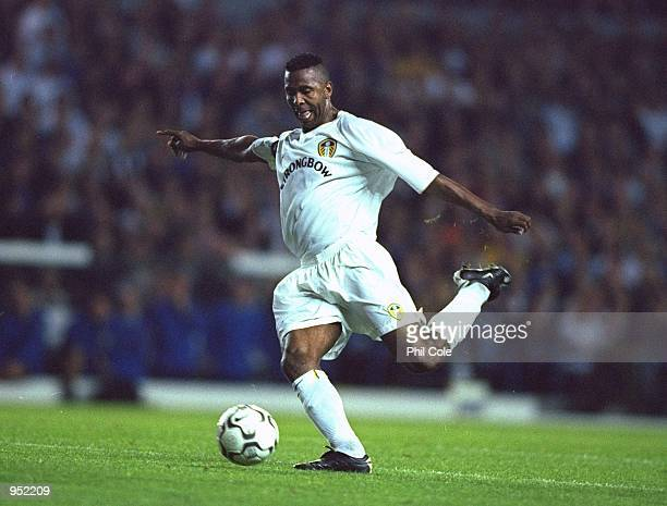 Lucas Radebe of Leeds United in action during the UEFA Champions League Group H match against Besiktas played at Elland Road in Leeds England Leeds...