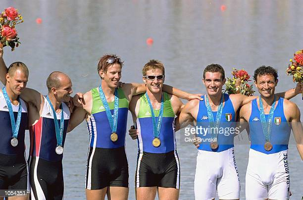 Luka Spik and Iztok Cop of Slovenia win gold in the Men's Double Sculls Rowing Final beating silver medallists Olaf Tufte and Fredrik Raaen Bekken of...