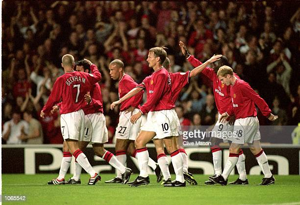 Manchester United celebrate during the UEFA Champions League match against Anderlecht at Old Trafford in Manchester England Manchester United won the...