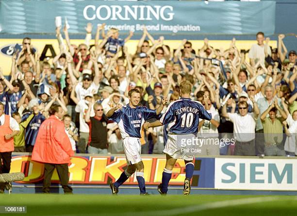 Marcus Stewart and James Scowcroft of Ipswich Town celebrate during the FA Carling Premiership match against Arsenal at Portman Road in Ipswich...
