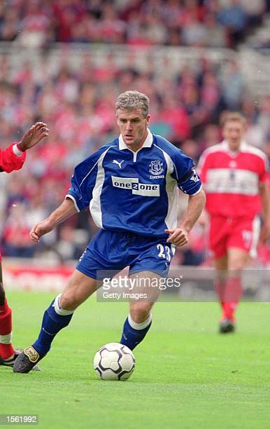 Mark Hughes of Everton in action during the FA Carling Premiership match against Middlesbrough played at the Riverside Stadium in Middlesbrough...