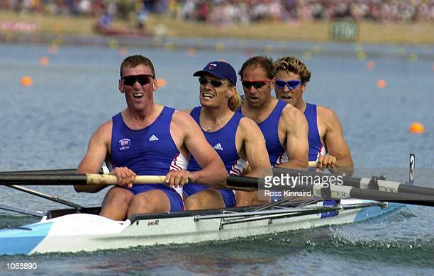 Matthew Pinsent Tim Foster Steve Redgrave and James Cracknell of Great Britain in action on their way to winning gold in the Mens Coxless Fours final...