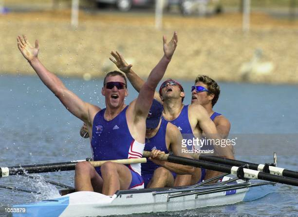 Matthew Pinsent Tim Foster Steve Redgrave and James Cracknell of Great Britain win gold in the Mens Coxless Fours final during the 2000 Sydney...