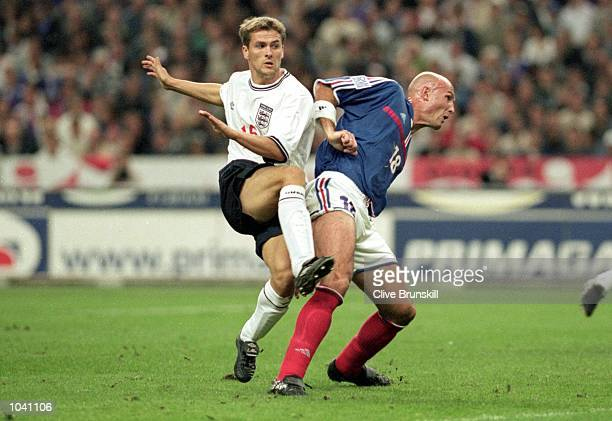 Michael Owen scores the equalizer for England during the International friendly match against France at the Stade de France in Paris France The match...