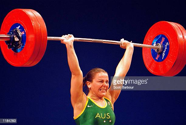 Michelle Kettner of Australia in action during the Womens 69kg Weightlifting at the Convention Centre in Darling Harbour on Day Four of the Sydney...
