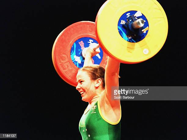 Michelle Kettner of Australia lifts during the womens 69 kilogram weightlifting category held at the Sydney Convention and Exhibition Centre in...