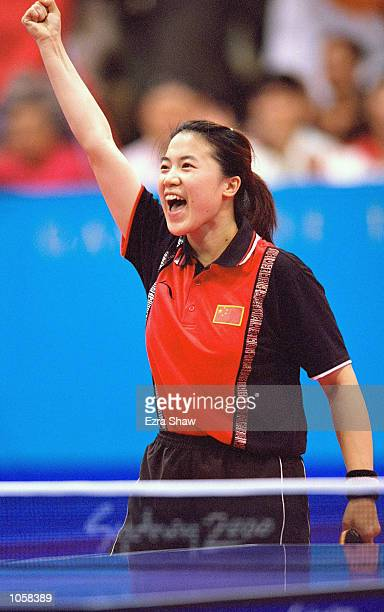 Nan Wang of China celebrates winning Gold in the Womens Singles Table Tennis at the State Sports Centre on Day Ten of the Sydney 2000 Olympic Games...