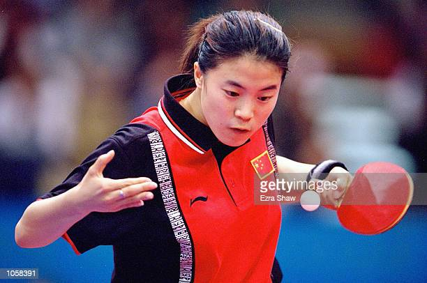Nan Wang of China on her way to winning Gold in the Womens Singles Table Tennis at the State Sports Centre on Day Ten of the Sydney 2000 Olympic...