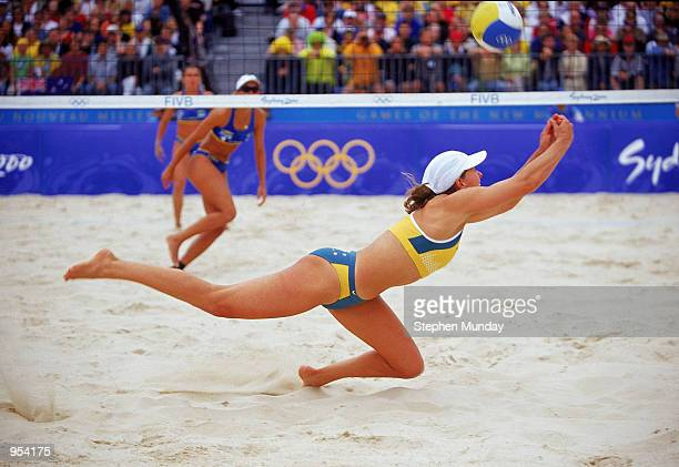 Natalie Cook of Australia retrieves during the Womens Beach Volleyball Final against Brazil at Bondi Beach on Day 10 of the Sydney 2000 Olympic Games...