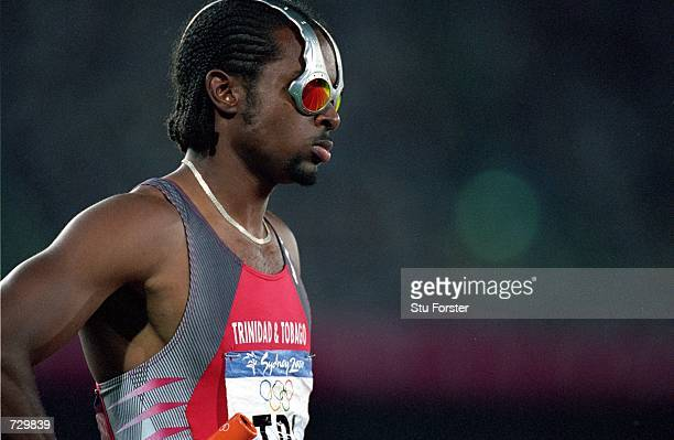Niconner Alexander of Trinidad and Tobago gets ready to run before the Men's 4x100m Relay Event at the Olympic Stadium for the Sydney 2000 Olympic...