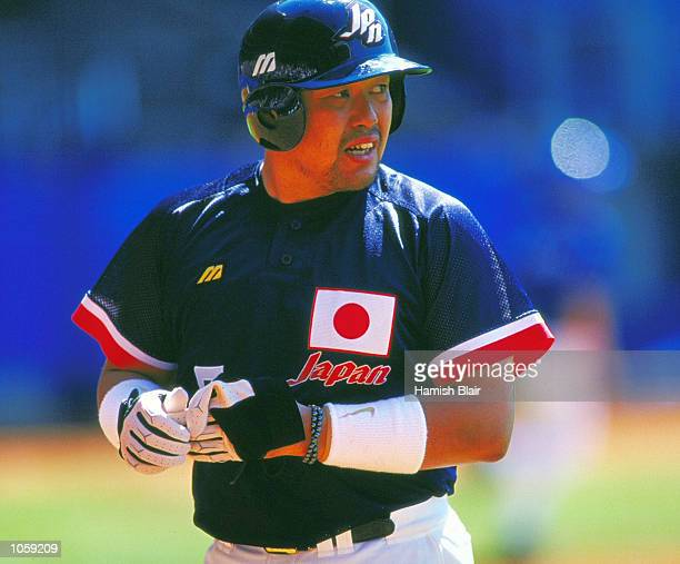 Norihiro Nakamura of Japan during the Baseball Bronze Medal Match against Korea at the Baseball Stadium in the Olympic Park on Day 12 of the Sydney...