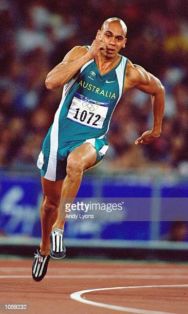 Patrick Johnson of Australia in action in the Mens 200m Heats at the Olympic Stadium on Day Twelve of the Sydney 2000 Olympic Games in Sydney,...