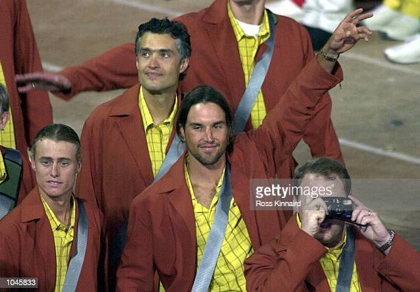 Patrick Rafter and Lleyton Hewitt of Australia in the Opening Ceremony during the Sydney 2000 Olympic Games at the Olympic Stadium Sydney Olympic...